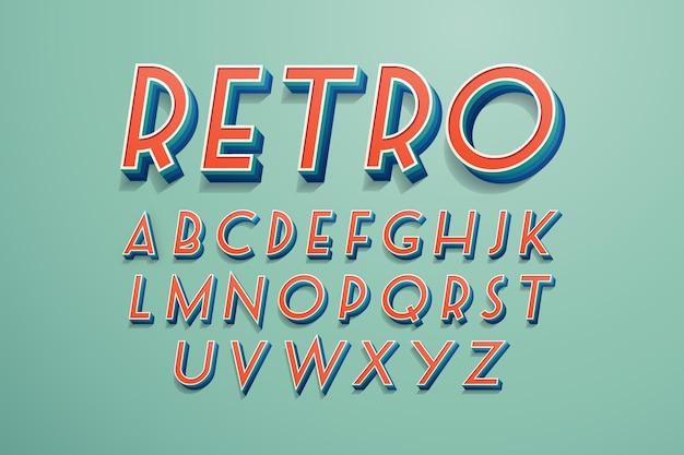 3d-retro alfabetstijl