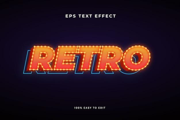 3d-retro met gloeilamp tekst effect