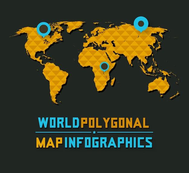 3d-retro-stijl veelhoekige wereldkaart op donkere achtergrond