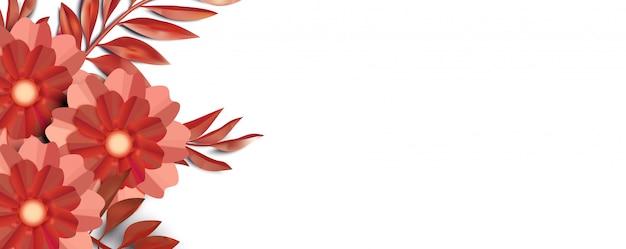 3d rode bloemenbannerachtergrond met exemplaarruimte