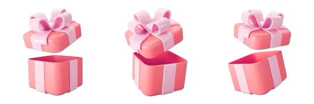 3d-rode open geschenkdoos set met pastel lint strik geïsoleerd op een witte achtergrond. 3d render vliegende moderne vakantie open verrassingsdoos. realistisch vectorpictogram voor banners voor cadeaus, verjaardagen of bruiloften