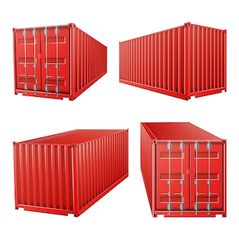3d rode vrachtcontainer