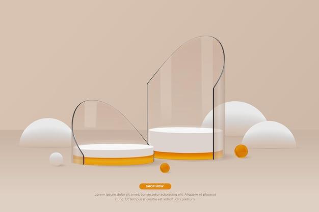 3d rond glazen podium met 2 stuks display zijaanzicht vector