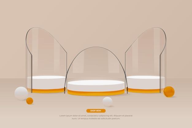 3d rond glazen podium met 3 stuks display vooraanzicht vector