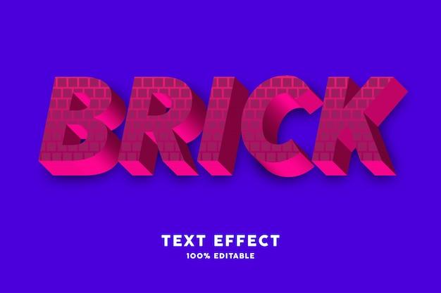 3d-rood vetgedrukt met baksteenpatroon stijl teksteffect