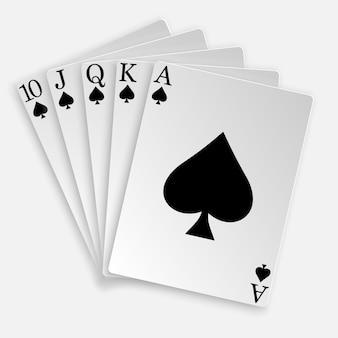 3d royal straight flush speelkaarten pokerhand