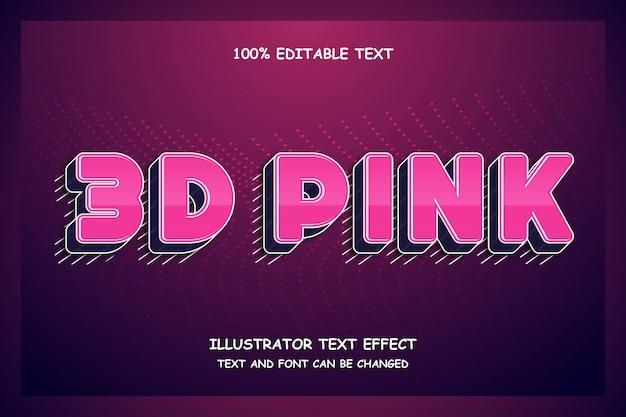 3d-roze, 3d-bewerkbare teksteffect moderne futuristische patroonstijl