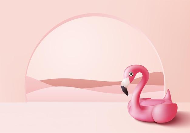 3d roze flamingo opblaasbare zwemring op 3d roze voetstuk