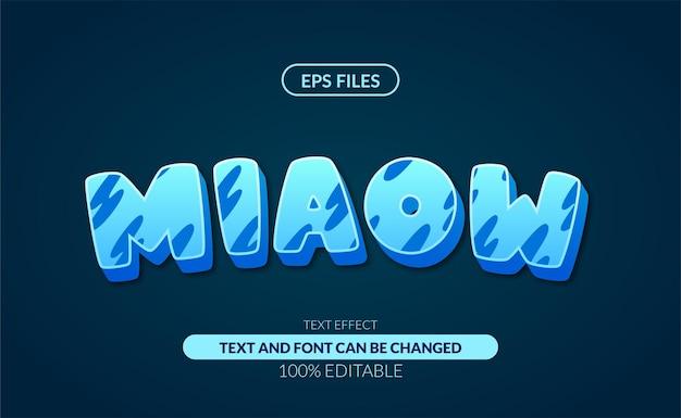 3d schattig miauw blauw bewerkbaar teksteffect.