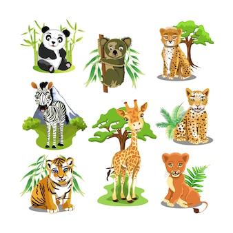 3d-schattige dieren sjabloon vector