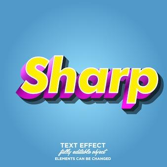 3d-scherp lettertype-effect werkt met lijntextuur en schaduw