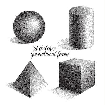 3d schetsen geometrische vormen