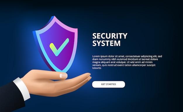3d-schildbescherming voor beveiligingssysteem, antivirus, anti-hacking en digitaal netwerk met schildbescherming en hand voor zaken met moderne blauwe achtergrond