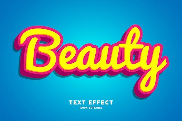 3d schoonheid rood geel lettertype effect