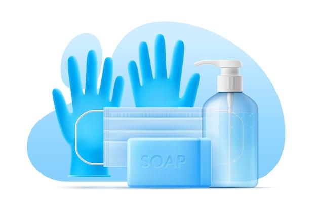 3d-sjabloon ontsmettingsmiddel, product voor persoonlijke verzorging