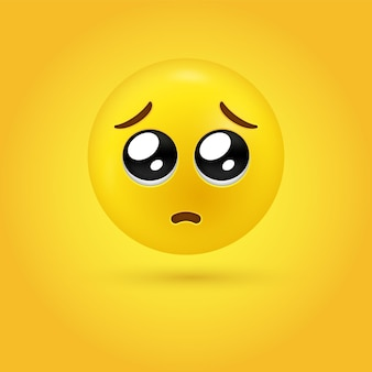 3d smekend emoji-gezicht of glanzende ogen-emoticon