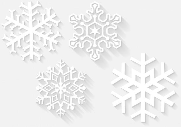 3d sneeuwvlokken met schaduwen