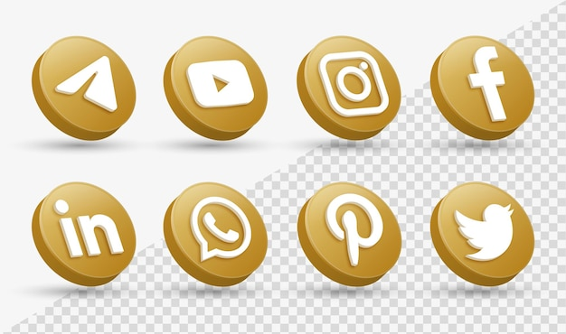3d social media iconen logo's in moderne gouden cirkel facebook instagram netwerk logo icoon