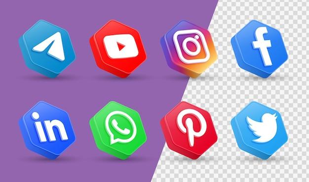 3d social media iconen logo's in moderne veelhoek frame facebook instagram netwerkpictogram
