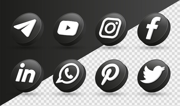 3d social media iconen logo's in moderne zwarte cirkel facebook instagram netwerkpictogram