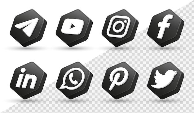 3d social media iconen logo's in moderne zwarte veelhoek frame facebook instagram netwerkpictogram