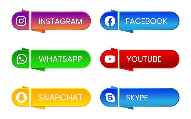 3d social media pictogramknop met verloopeffect ingesteld voor ux ui online gebruik