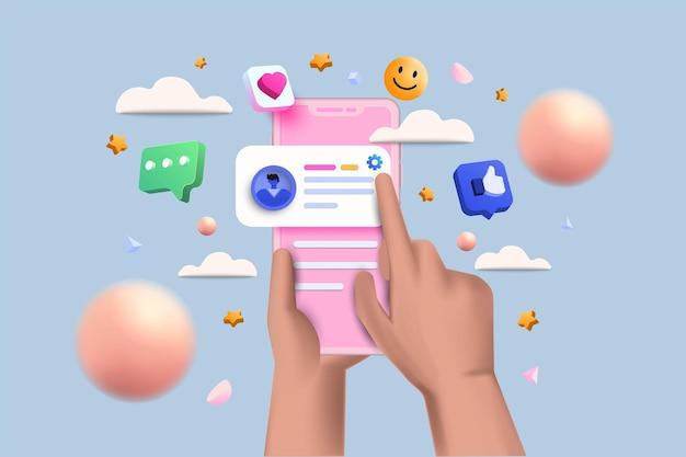 3d social media platform, online sociale communicatie toepassingen concept, emoji, harten, chat en grafiek met smartphone achtergrond. 3d vectorillustratie