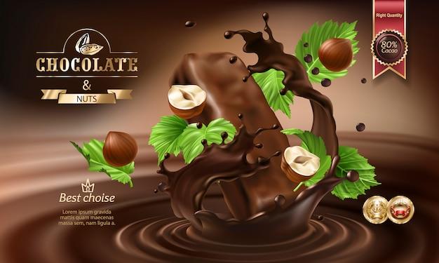 3d-spatten van gesmolten chocolade en melk met vallende stukjes chocoladerepen.