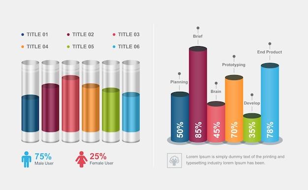 3d staafdiagram ronde pijp stijl vector infographic