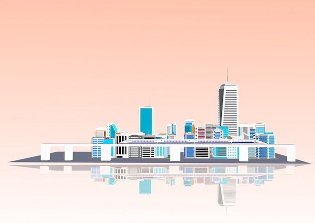 3d-stad met een hogesnelheidstrein