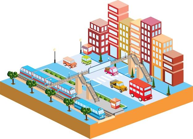 3d-stad met transport en gebouwen
