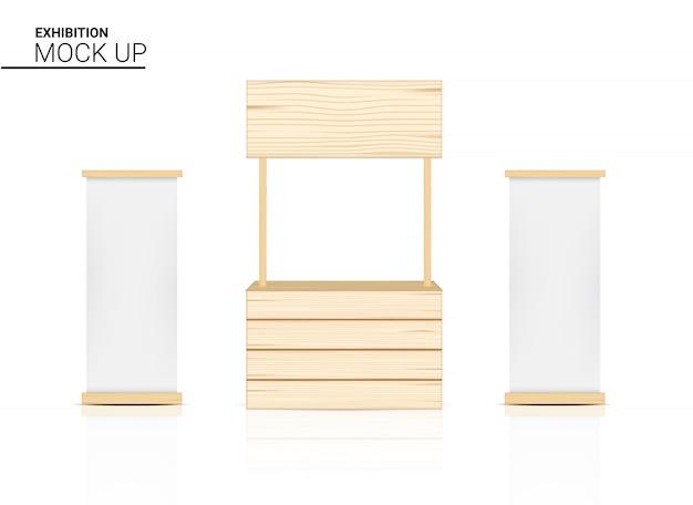 3d-stand houten winkel, binnenkiosk, winkeldisplay voor verkoop marketing promotie-tentoonstelling met canvasbanner op witte afbeelding