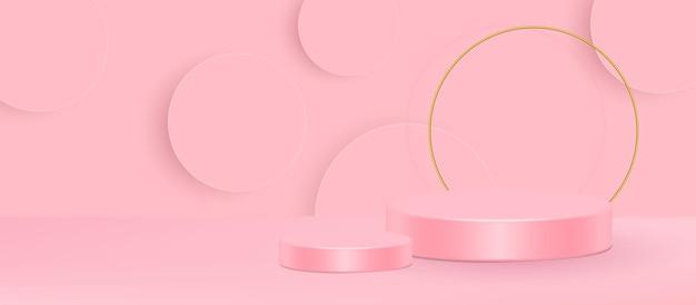 3d-stand vectorillustratie. geometrische vorm roze crème scène minimale 3d vector illustratie.