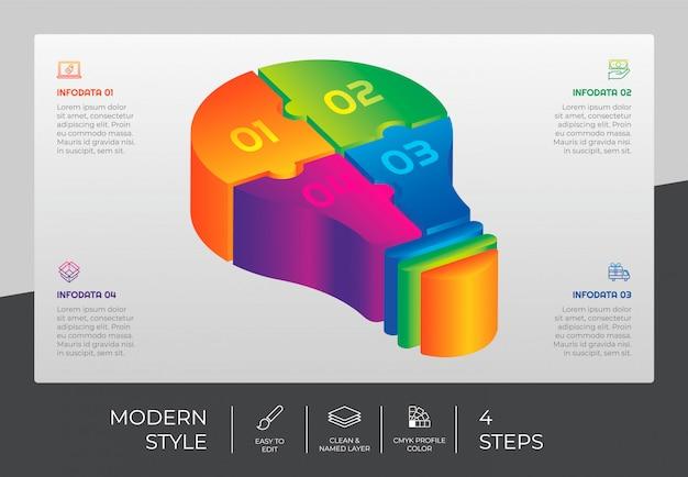 3d stap infographic ontwerp met 4 stappen & kleurrijke stijl voor presentatiedoeleinden. cirkel optie infographic