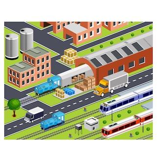 3d-station met alle gebouwen en transport