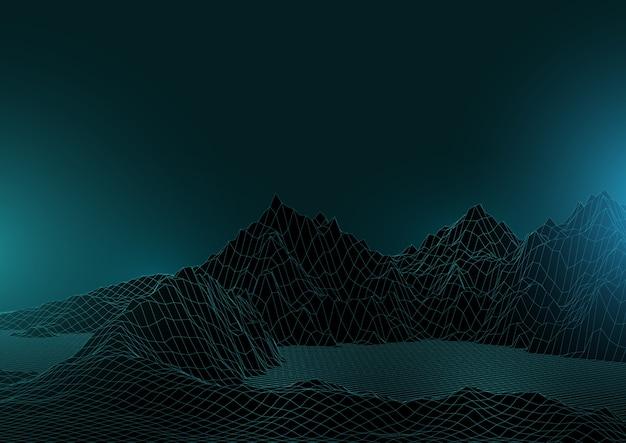 3d-stijl abstracte achtergrond met wireframe landschap
