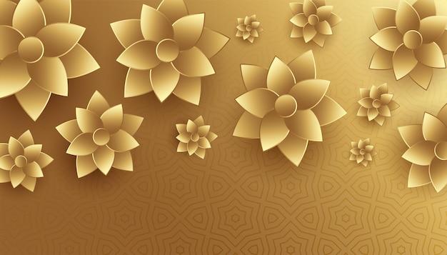 3d-stijl gouden bloemen achtergrondontwerp