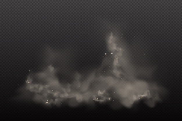 3d-stof op donkere transparante achtergrond. stof vuile wolkdeeltjes in de luchtvervuiling en rookgog. explosiewolken in stadssmog, vervuilde en vuile lucht