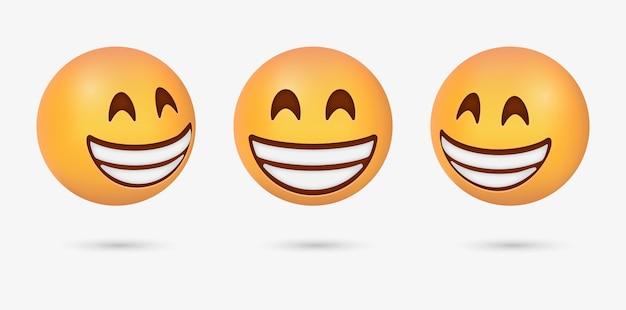 3d stralende emoticon met lachende ogen of vrolijk grijnzend emoji-gezicht voor reacties op sociale media