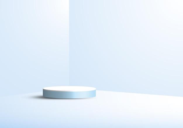 3d studio kamer weergave geometrische sokkel blauwe achtergrond