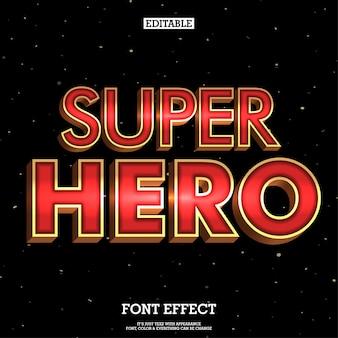 3d-superheld lettertype met metallic effect