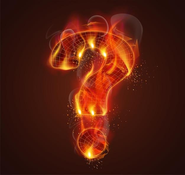 3d-symbool in brand met rook en vonken op een donkerrode achtergrond