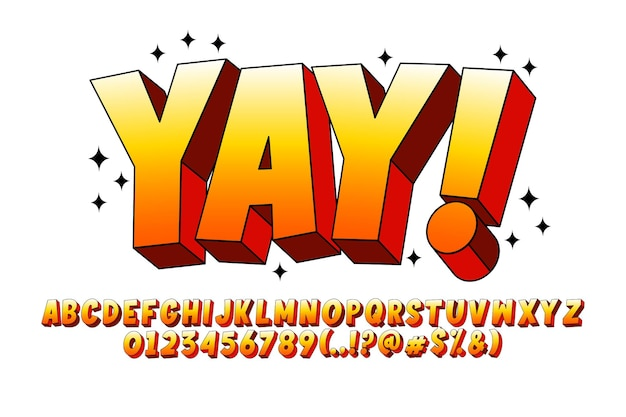 3d-tekenfilmlettertype extruderen lettertypeontwerp met zwarte lijn