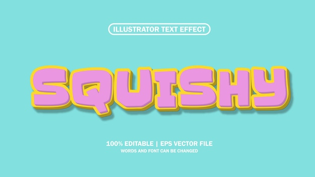 3d-teksteffect squishy eps-bestand bewerkbare premium