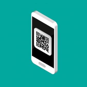 3d-telefoon met qr-code op het scherm. isometrische scancode per telefoon. qr label sticker geïsoleerd op een achtergrond met kleur. illustratie.