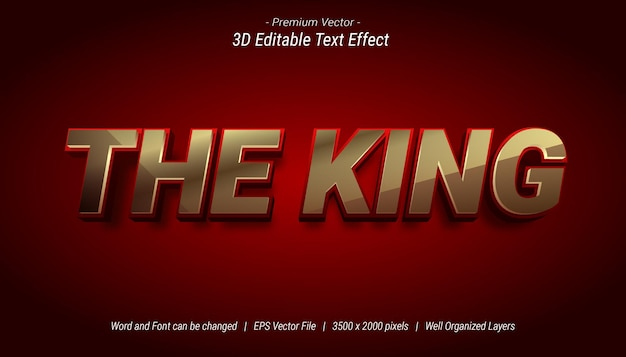 3d the king bewerkbaar teksteffect