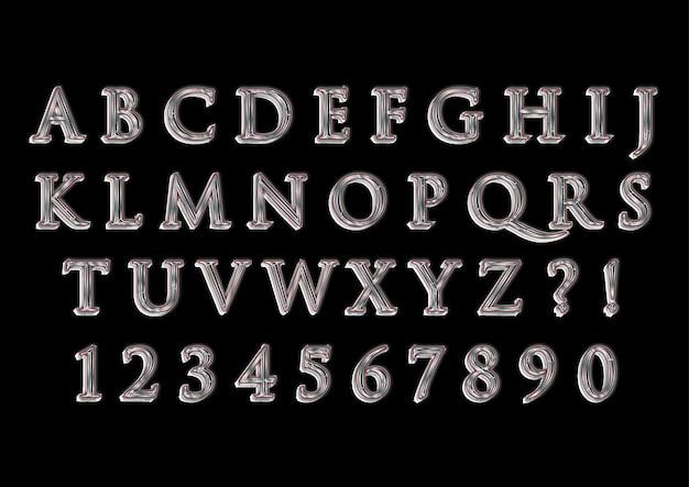 3d trendy mercury-alfabetten cijferset