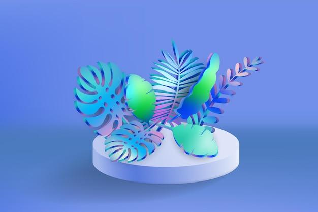 3d tropische bladeren scène podium botanische achtergrond render vector gebladerte sokkel