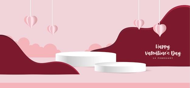 3d valentijnspodiumscène voor productvertoning of plaatsing