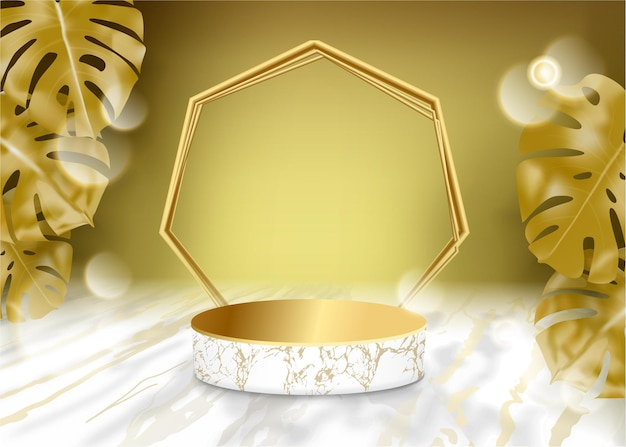 3d vectorvertoning wit marmeren podium in gouden decor als achtergrond door gouden monstera verlaat scene
